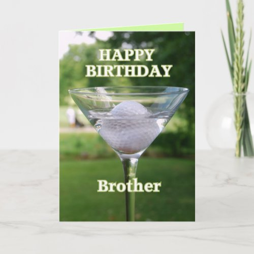 Brother Martini Golf Ball Happy Birthday Card card