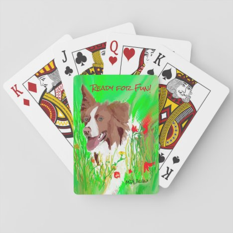 Brown and White Border Collie Playing Cards