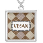 Brown Argyle Vegan Pride Silver Plated Necklace