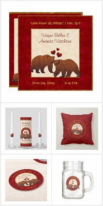 Brown Bears Country Wedding Collection in Red