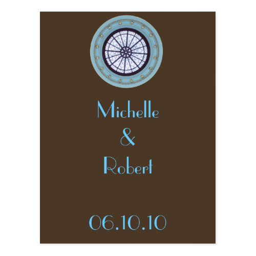Brown & Blue Modern Save the Date / Thank You Postcard