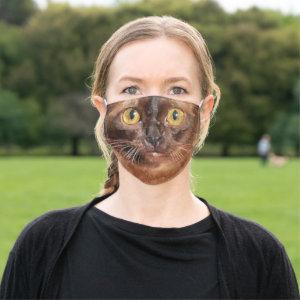 Brown Burmese Cat Face Cloth Face Mask