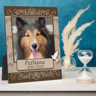 Brown Calligraphy Swirls Custom Pet Sympathy Plaque