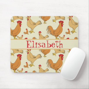 Brown Chicken Design Personalise Mouse Pad