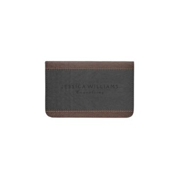 Brown & Gray Vintage Leather Texture Business Card Holder