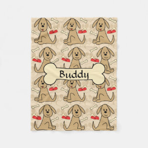 Brown Puppy Dog Design Personalize Fleece Blanket