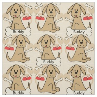 Brown Puppy Dog Graphic Design Personalize Fabric