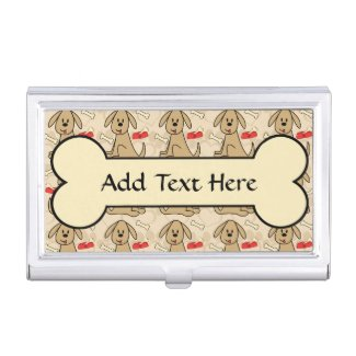 Brown Puppy Dog Graphic Design Personalize Business Card Holders