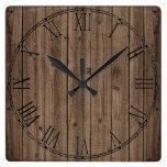 Brown Rustic Beautiful Wood Texture Square Wall Clock