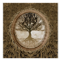 Brown Tree of Life Pattern Poster