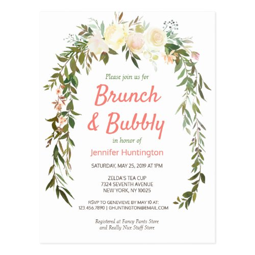 Brunch & Bubbly Bridal Shower Boho Invitation Postcard