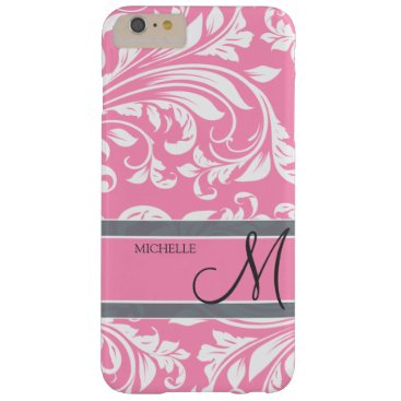 Bubbblegum Pink and White Floral Damask Barely There iPhone 6 Plus Case