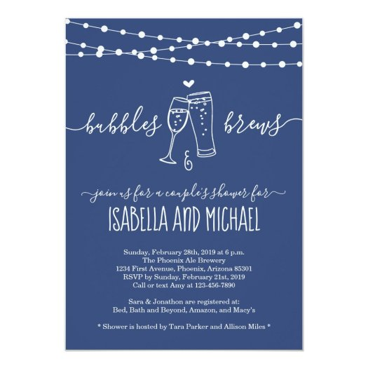 Bubble & Brews Couple's Shower Invitation