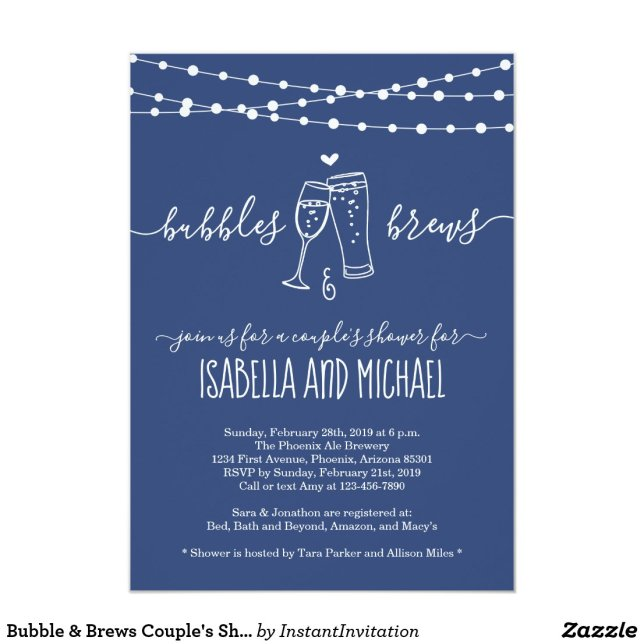 Bubble & Brews Couple's Shower Invitation