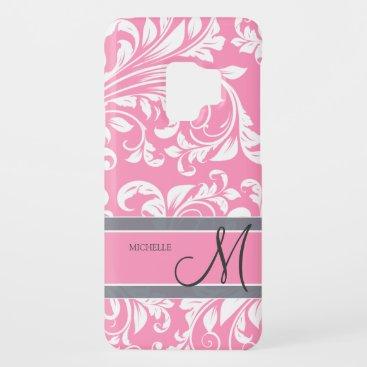 Bubblegum Pink and white floral damask w/ monogram Case-Mate Samsung Galaxy S9 Case