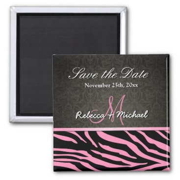 Bubblegum Pink & Black Zebra Stripes Save the Date Magnet