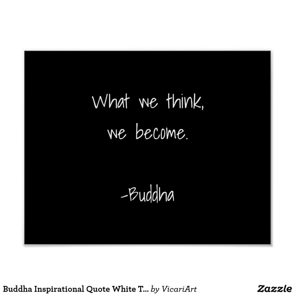 Buddha Inspirational Quote White Typography Black Poster
