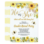 Bumble bee and sunflowers gender reveal invitation