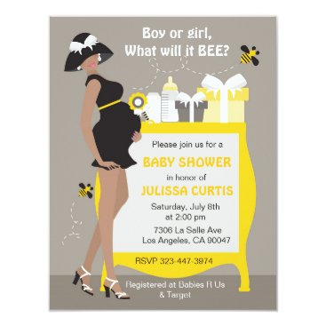 Bumble Bee Gender Reveal Invitations - African
