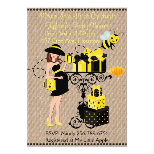 Bumble Bee Lady Yellow Black Baby Shower Invite