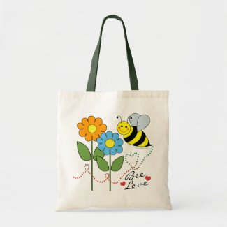 Bumble Bee With Flowers Bee Love Bag