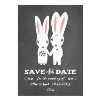 Bunnies Wedding Chalkboard Style Save the Date Magnetic Card