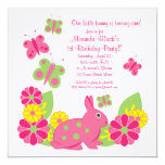Bunny and Butterflies Girl's Birthday Invitation