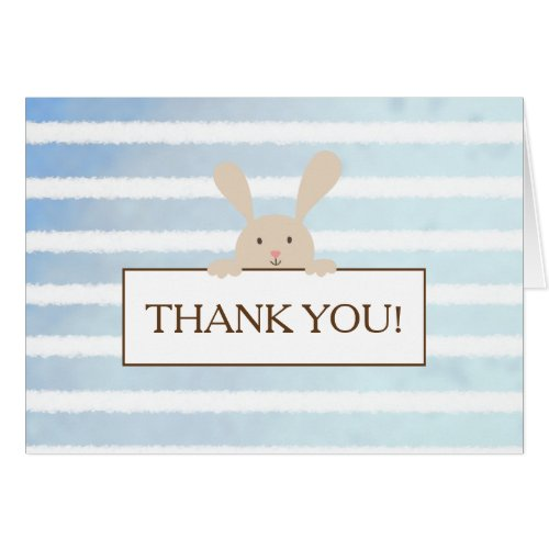 Bunny Blue Stripe Baby Shower Thank You