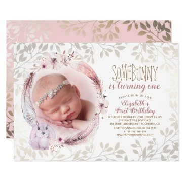 Bunny Is Turning One Girl's First Birthday Photo Card