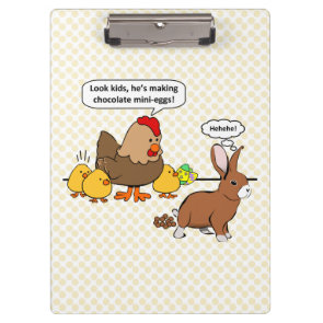 Bunny makes chocolate poop funny cartoon clipboards