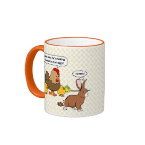 Bunny makes chocolate poop funny cartoon coffee mugs