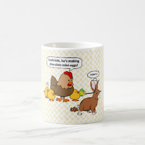 Bunny makes chocolate poop funny cartoon mugs