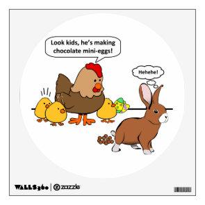 Bunny makes chocolate poop funny cartoon wall decor