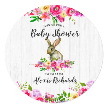 Bunny Rabbit Watercolor Floral Baby Shower Invitat Card