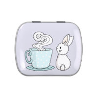 Bunny with a Cup of Tea Candy Tin