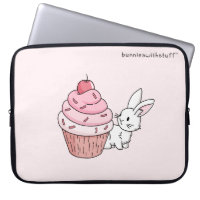 Bunny with a pink cupcake computer sleeve