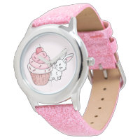 Bunny with a pink cupcake wrist watch