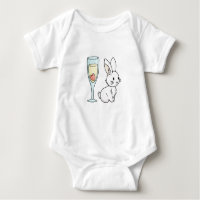 Bunny with Champagne Baby Bodysuit
