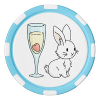 Bunny with Champagne Poker Chip Set