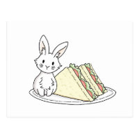 Bunny with Sandwiches Postcard