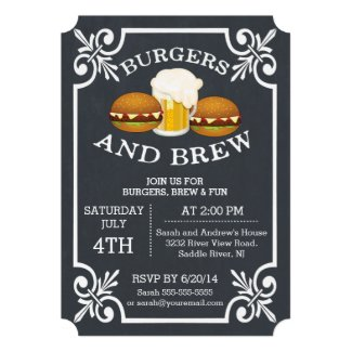 Burgers & Brew Barbecue Party Invitation