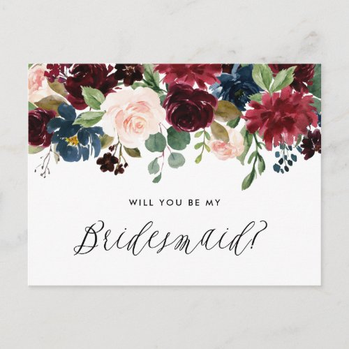 Burgundy and Blue Floral Garland Be My Bridesmaid Invitation Postcard