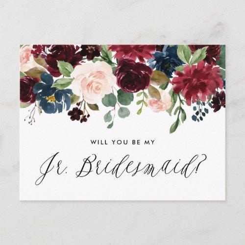 Burgundy and Blue Floral Garland Junior Bridesmaid Invitation Postcard