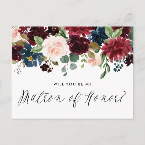 Burgundy and Blue Floral Garland Matron of Honor Invitation Postcard