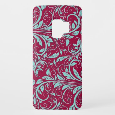 Burgundy and Teal Blue Damask Case-Mate Samsung Galaxy S9 Case