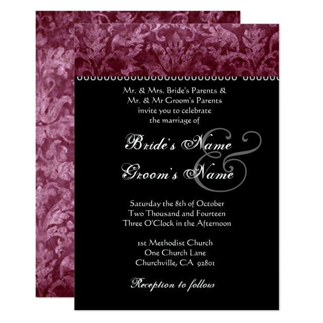 Burgundy Black White Damask Wedding Invitation Zazzle