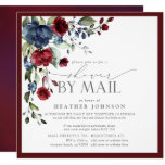 Burgundy Blue Floral Watercolor Bridal Shower Mail Invitation
