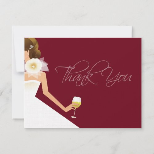 Burgundy flat wine thank you card