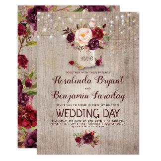 Burgundy Fl Mason Jar Rustic Wedding Card
