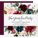 Burgundy Floral Modern New Years Eve Party Invitation
